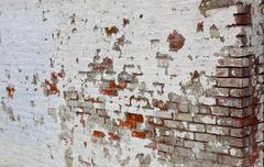 weathered brick wall corner horizontal - stock photo