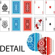 Aces, joker and playing card backs Playing cards Stock Illustration