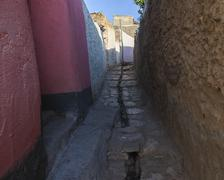 Narrow alleyway of ancient city of jugol in the morning. harar. ethiopia. Stock Photos