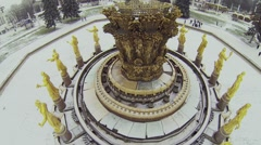 Fountain Friendship of Nations in All-Russian Exhibition Centre Stock Footage