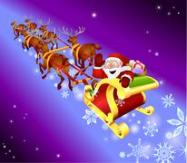 christmas sled illustration - stock illustration