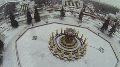 Beautiful Fountain Friendship of Nations in Exhibition Center Stock Footage