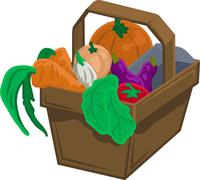 Vegetables and produce in basket Stock Illustration