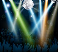 Mirror ball dance floor crowd - stock illustration