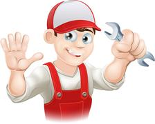 Happy plumber or mechanic with spanner Stock Illustration