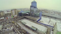 Modern building of railway station against cityscape at winter Stock Footage