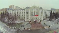 Edifice of Kuibyshev Railway Headquarters and christmas tree Stock Footage