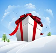 Huge Christmas Present in Snow - stock illustration