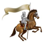 Knight with spear and banner - stock illustration