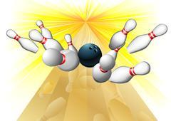 Bowling ball hitting pins - stock illustration