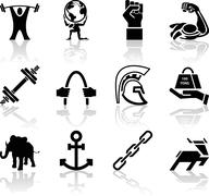 Conceptual icon set relating to strength - stock illustration
