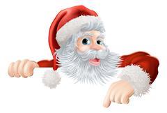 Stock Illustration of Christmas Santa pointing down at sign