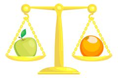 Balancing Or Comparing Apples With Oranges - stock illustration
