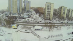 Street traffic near dwelling complex Rook at winter day. Stock Footage