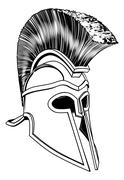 Monochrome Corinthian helmet - stock illustration