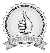 Thumbs up best choice award badge - stock illustration