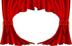 Punainen teatteri tyyli verhot Piirros