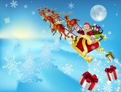Santa hänen reki Piirros