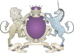 Shield coat of arms lion, unicorn, crown Stock Illustration