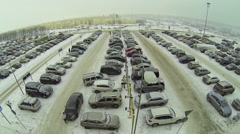 Large car parking against identical houses of Koshelev project Stock Footage