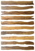 Damaged wooden planks isolated over white background Stock Illustration
