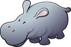 Cute Friendly Hippo Vector Illustration - stock illustration