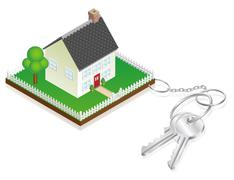 Stock Illustration of House attached to keys as keyring