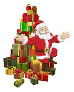 Santa sitting on a pile of gifts waving - stock illustration