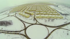 Cars ride by round crossroad near Koshelev project Stock Footage