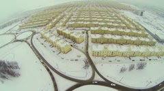 Transport traffic near Koshelev project with identical houses Stock Footage