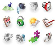 Stock Illustration of Dynamic Colour Web and Application Icon Set