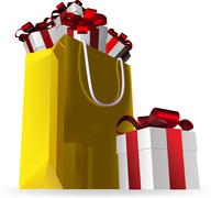 gift bag final and presents - stock illustration