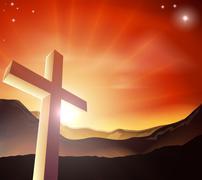 Easter cross concept Stock Illustration