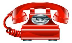 Shiny red old fashioned phone icon Stock Illustration