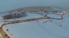 Traffic near Koshelev project with many identical houses Stock Footage