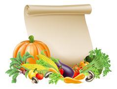 Thanksgiving or fresh produce scroll Stock Illustration