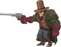 Cowboy gunman with pistol - stock illustration