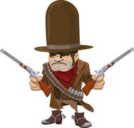 Cowboy gunman with rifles Stock Illustration