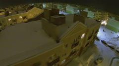 Row of identical houses of Koshelev project at winter evening Stock Footage