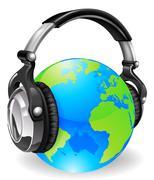 Maailman maapallo musiikkia kuulokkeilla Piirros