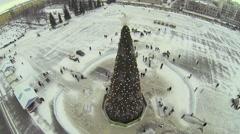 Christmas tree on Kuibyshev Square with people Stock Footage