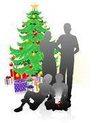 A family Christmas Stock Illustration