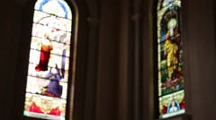 Church Cathedral Artistic Glass Light Praying Blurry Background - stock footage