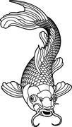Koi carp black and white fish Stock Illustration
