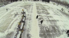 Small childish train ride by Kuibyshev Square at winter Stock Footage