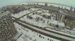 City panorama with traffic on wide avenue among buildings Stock Footage
