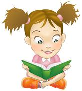 Illustration young girl reading book - stock illustration