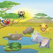 Cute African safari animal cartoon scene - stock illustration