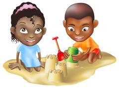 two children playing on the beach - stock illustration