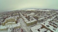 Cityscape with street Leningradskaya and snowbound frozen river Stock Footage